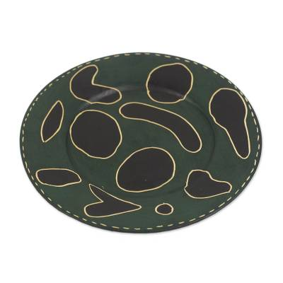 Handcrafted Brown and Green Sese Wood Decorative Plate