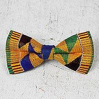 Cotton kente bow tie, 'Edwin Asa' - Multicolored Cotton Kente Cloth Bow Tie from Ghana