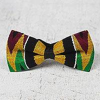 Cotton kente bow tie, 'Masculine Color' - Handcrafted Cotton Kente Cloth Bow Tie from Ghana