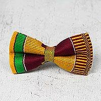 Men's cotton kente bow tie, 'Fathia' - Hand Woven Men's Bow Tie with Kente Pattern from West Africa