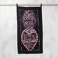 Batik cotton wall hanging, 'King and Queen Mask' - Batik Cotton Wall Hanging of African Masks from Ghana
