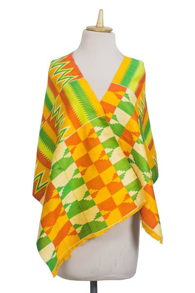 Rayon and cotton blend shawl, 'Kente Royalty' (18 inch) - Rayon and Cotton Blend Kente Shawl in Orange (18 in.)