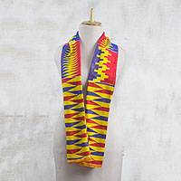 Cotton blend kente cloth scarf, 'Obaapa' (10 inch width) - Colorful Cotton Blend Kente Scarf from Ghana (10 inch width)