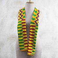 Rayon and cotton blend scarf, 'Kente Princess' (9 inch) - Colorful Rayon and Cotton Blend Kente Scarf (9 in.)