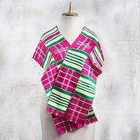 Rayon and cotton blend scarf, 'Kente Desire' (9.5 inch) - Rayon and Cotton Blend Kente Scarf in Cerise (9.5 in.)