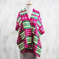 Rayon and cotton blend shawl, 'Kente Desire' (14.5 inch) - Rayon and Cotton Blend Kente Shawl in Cerise (14.5 in.)