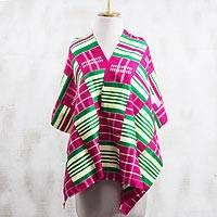 Rayon and cotton blend shawl, 'Kente Desire' (19 inch) - Rayon and Cotton Blend Kente Shawl in Cerise (19 in.)