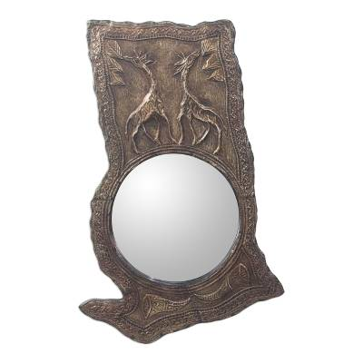 Aluminum Repousse and Sese Wood Ghana Giraffes Mirror