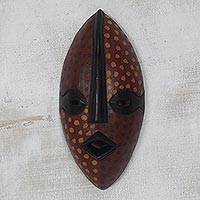 African wood mask, 'Odwira Festivity' - Dot Motif African Sese Wood Mask from Ghana