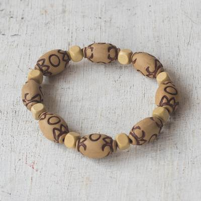 Wood and recycled plastic beaded stretch bracelet, Eco Life