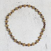Recycled plastic beaded necklace, 'Chic Shapes' - Handcrafted Beige and Brown Recycled Plastic Beaded Necklace