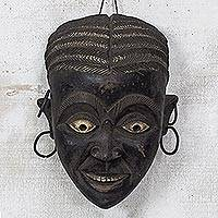 African wood mask, 'Asante Woman' - Rustic African Wood Mask of an Asante Woman from Ghana