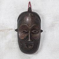 African wood mask, 'Baga Face' - Handmade African Sese Wood Mask from Ghana