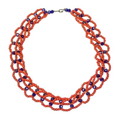 Orange and Blue Recycled Plastic Beaded Statement Necklace