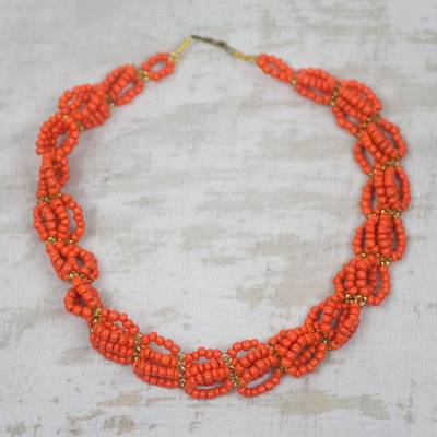 Beaded necklace, Orange Serenity