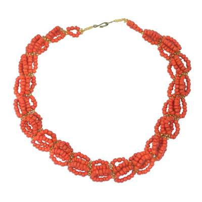 Recycled Orange Plastic Woven Lace Statement Necklace