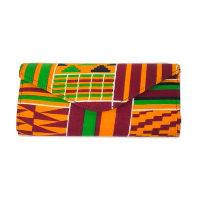Multi-Colored African Kente Print Cotton Clutch