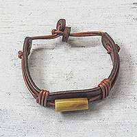 Men's horn and leather wristband bracelet, 'Bound' - Men's Horn and Leather Wristband Bracelet from Ghana