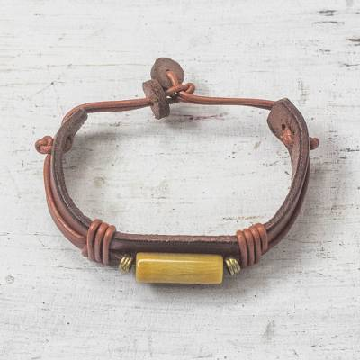 Mens horn and leather wristband bracelet, Fusion in Tan