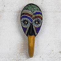 African glass beaded wood mask, 'Nawa Bird' - African Glass Beaded Wood Bird Mask from Ghana