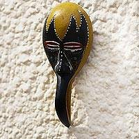 African wood mask, 'Dark Bird' - African Wood Bird Mask from Ghana