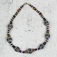 Wood and ceramic beaded necklace, 'Boho Beauty' - Handmade Sese Wood and Ceramic Beaded Necklace from Ghana