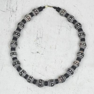 Ceramic and recycled plastic beaded necklace, 'Dark Champion' - Ceramic and Recycled Plastic Beaded Necklace from Ghana