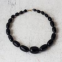 Onyx beaded necklace, 'Graduation' - Handcrafted Graduating Size Onyx Beaded Necklace from Ghana