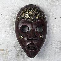 African wood mask, 'Male Dan' - Red and Gold African Wood Dan Mask from Ghana