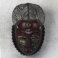 African wood mask, 'Red Baule' - Red and Gold African Wood Baule-Inspired Mask from Ghana