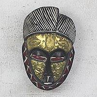 African wood mask, 'Gold Baule' - Gold African Wood Baule-Inspired Mask from Ghana