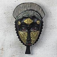 African wood mask, 'Baule Friendship' - Black and Gold African Wood Baule-Inspired Mask from Ghana