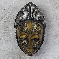 African wood mask, 'Yellow Baule' - Yellow and Gold African Wood Baule-Inspired Mask from Ghana