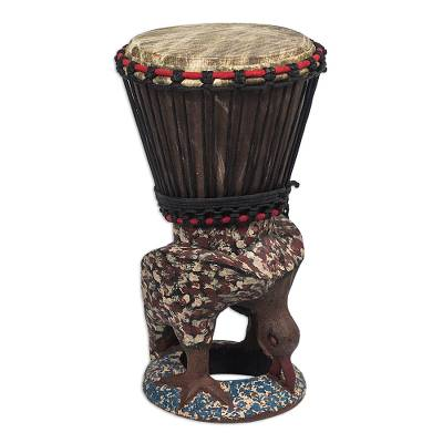 Brown and Red Handcrafted Wood Djembe Drum with Eagle Base