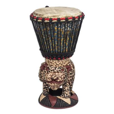 Brown and Cream Handcrafted Wood Djembe Drum with Tiger Base