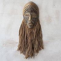 Wood African mask, 'Ahobrase' - Wood Earth-Toned African Wall Mask Symbolizing Humility