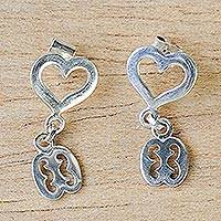 Sterling silver dangle earrings, 'Nkonsonkonson with Heart' - Adinkra Nkonsonkonson Dangle Earrings from Ghana