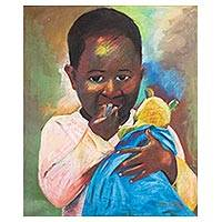 'Child Series (3)' - Signed Expressionist Painting of a Child from Ghana