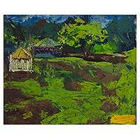 'Landscape' - Signed Impressionist Landscape Painting from Ghana