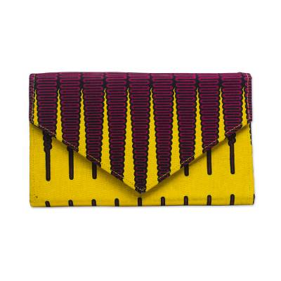 Cotton Clutch in Garnet and Daffodil from Ghana
