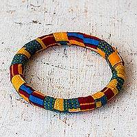 Cotton kente bangle bracelet, 'Enchanting Odo' - Cotton Kente and Sese Wood Bangle Bracelet from Ghana