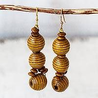 Wood beaded dangle earrings, 'Abide' - Handmade Wood Beaded Dangle Earrings from Ghana