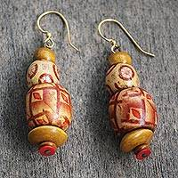 Wood and recycled plastic beaded dangle earrings, 'Rejoice in Beauty' - Sese Wood and Recycled Plastic Beaded Dangle Earrings