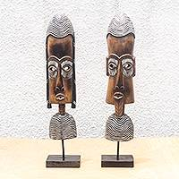 African wood masks, 'Figures of Praise' (pair) - Unique African Wood Masks from Ghana (Pair)