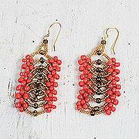 Recycled plastic beaded dangle earrings, 'Fiery Woman' (Ghana)