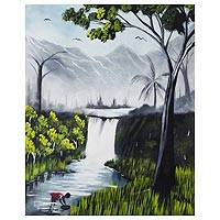 'The Righteous Day' - Signed Painting of a Waterfall from Ghana
