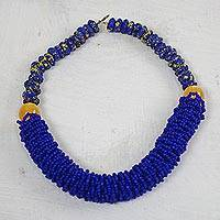 Recycled glass and plastic beaded torsade necklace, 'Eco Woman' - Recycled Glass and Plastic Beaded Torsade Necklace