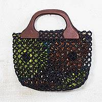 Glass beaded handle handbag, 'Love Beads' - Black Glass Beaded Handle Handbag from Ghana
