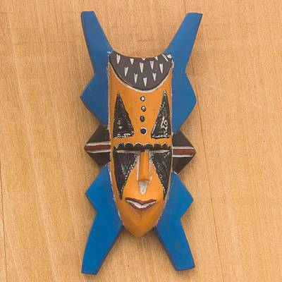Wood African mask, 'Bibawa' - Blue and Orange Hand Carved Wood African Goodness Wall Mask