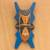 Wood African mask, 'Bibawa' - Blue and Orange Hand Carved Wood African Goodness Wall Mask (image 2) thumbail